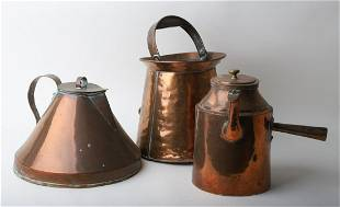 FINELY CRAFTED COPPER KETTLE, PITCHER & BUCKET