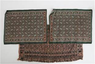 (2) PAISLEY MATS and a PERSIAN EXAMPLE with SCRIPT