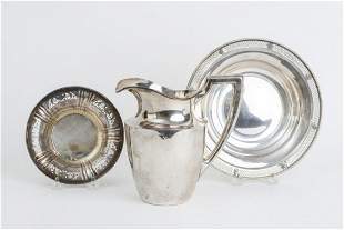 STERLING SILVER PITCHER & (2) RETICULATED BOWLS