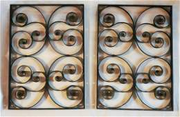 WELL MADE PAIR OF WROUGHT IRON GRATES