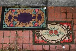 (2) FLORAL and GEOMETRIC HOOKED RUGS