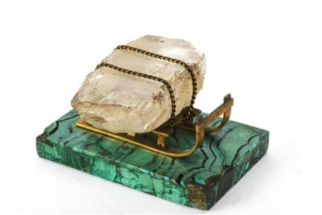 LATE (19th c) RUSSIAN BRONZE SLED with ICE BLOCK