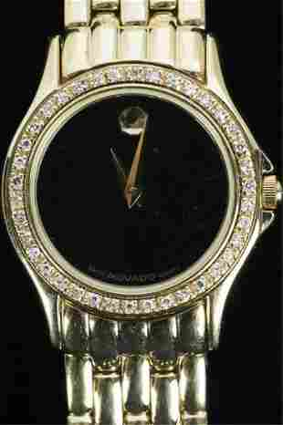 MOVADO LADY'S WATCH with 14k GOLD & DIAMOND BEZEL