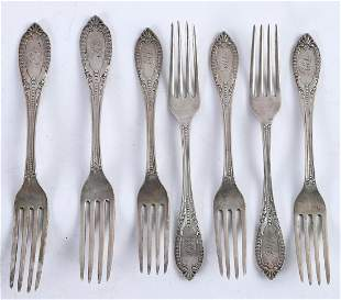 GROUPING OF (7) W GALE STERLING SILVER FORKS