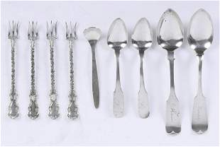 GROUPING OF COIN & STERLING SILVER FLATWARE