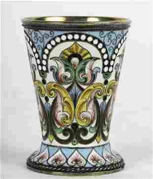 ANATOLY A. ARTSYBASHEV ENAMELED SILVER-GILT CUP