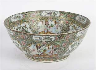 LARGE CHINESE EXPORT ROSE MEDALLION PUNCH BOWL