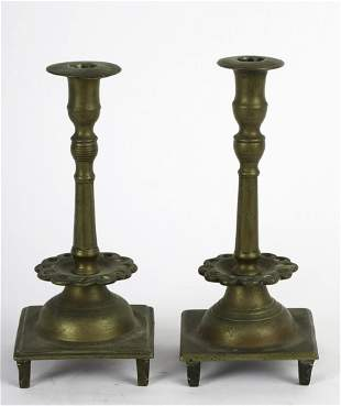 PAIR (18/19thc) RUSSIAN BRASS SABBATH CANDLESTICKS