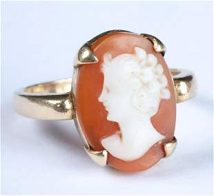 EDWARDIAN 14k GOLD SHELL CAMEO RING
