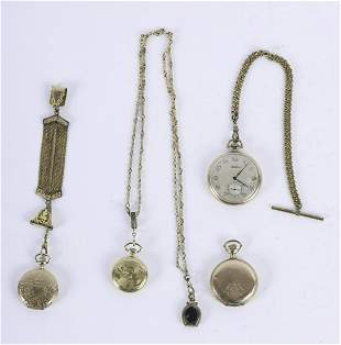4 GOLD & GOLD-FILLED POCKET WATCHES, CHAINS, FOBS