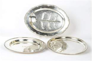 SILVER PLATED WELL & TREE PLATTER & (2) TRAYS