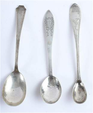 (3) STERLING SILVER & COIN SERVING SPOONS