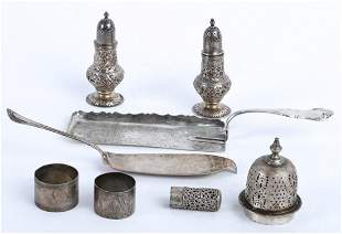 GROUPING OF STERLING SILVER & COIN TABLEWARES