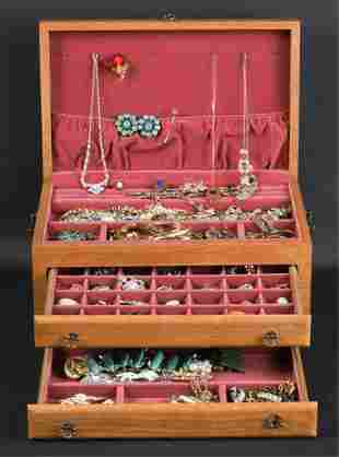 OAK JEWELRY BOX with VICTORIAN & COSTUME JEWELRY