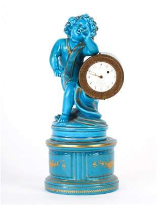 CORBASSIER A METZ FIGURAL PORCELAIN DESK CLOCK