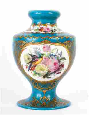 CONTINENTAL PORCELAIN VASE HAND PAINTED with BIRDS