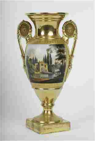 FRENCH PARIS PORCELAIN URN with ROMANTIC SCENE