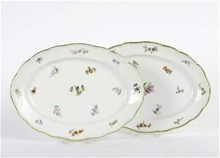 PAIR OF MEISSEN PORCELAIN OVAL TRAYS