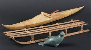 ALASKAN INUIT MADE KAYAK, SLED and SOAPSTONE SEAL