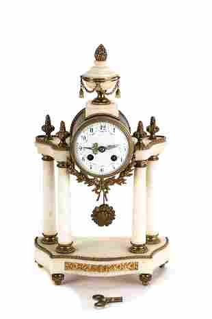 FRENCH WHITE MARBLE PORTICO CLOCK