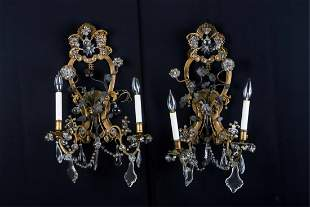 PAIR OF FRENCH BRONZE LIGHT WALL SCONCES
