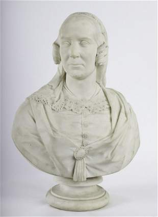 19th c MARBLE BUST of a PROMINENT LADY W/ PEDESTAL