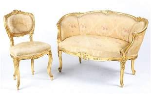 LOUIS XV STYLE GILT BOUDOIR SIDECHAIR & LOVE SEAT
