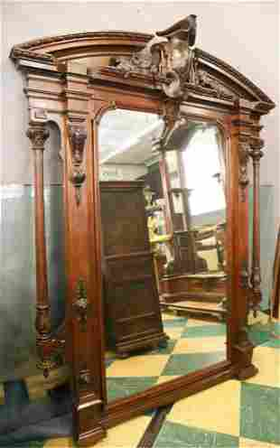 LARGE AESTHETIC MOVEMENT CARVED WALNUT HALL MIRROR