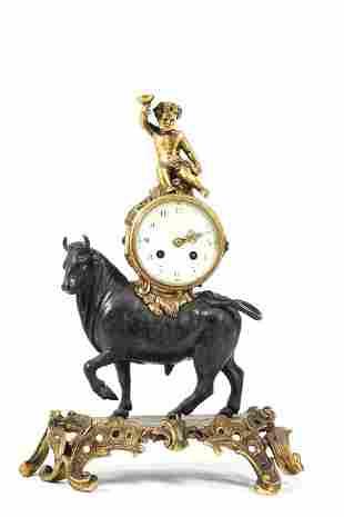 FRENCH S.H. PARIS FIGURAL BRONZE MANTLE CLOCK