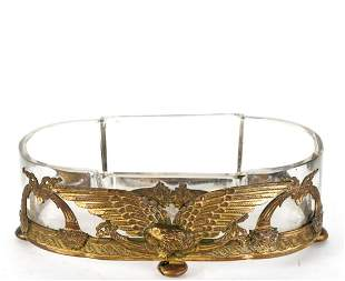PATRIOTIC GILT BRONZE & GLASS FOOTED PLANTER