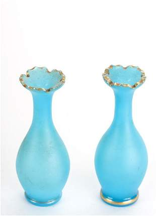 PAIR OF MINIATURE FROSTED BLUE GLASS VASES