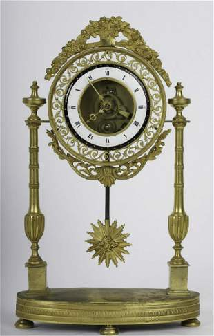 (19th c) GILT BRONZE FRENCH PORTICO CLOCK