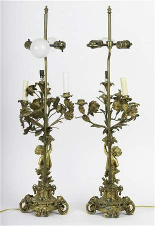 PAIR OF GILT BRONZE FIGURAL TABLE LAMPS