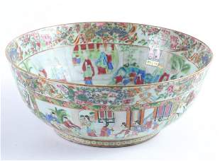 (19th c) CHINESE EXPORT ROSE MEDALLION PUNCH BOWL