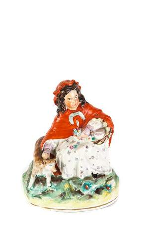 STAFFORDSHIRE FIGURE GROUP LITTLE RED RIDING HOOD