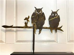 EXCEPTIONAL EARLY SHEET IRON OWL WEATHERVANE