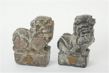 (2) 18thc STYLE CARVED HARDSTONE GUARDIAN LIONS