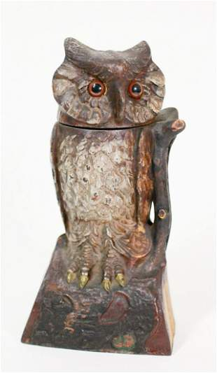 J & E STEVENS CAST IRON OWL MECHANICAL BANK