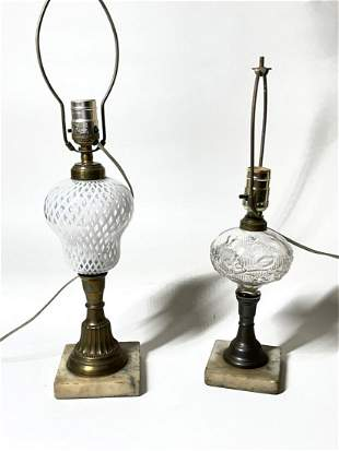 TWO VICTORIAN OIL LAMP FONTS