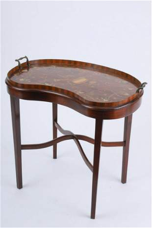 EDWARDIAN MARQUETRY INLAID TRAY ON STAND