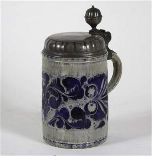 (17th c) WESTERWALD STEIN with PEWTER LID