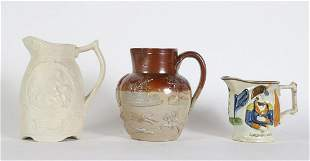 (3) ENGLISH CERAMIC PITCHERS