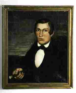 AMERICAN SCHOOL (19th c) PORTRAIT OF A YOUNG GENT