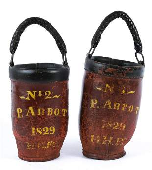 H.H. FIRE SOCIETY LEATHER FIRE BUCKETS