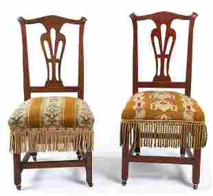 PAIR of COUNTRY CHIPPENDALE STATE of MAINE CHAIRS