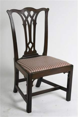 (18th c) CHINESE CHIPPENDALE MAHOGANY SIDE CHAIR