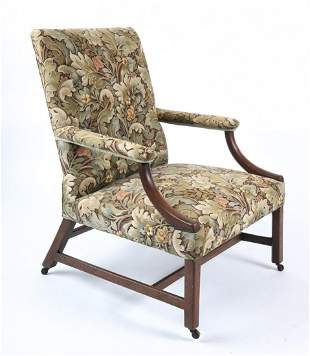 (19th c) CHIPPENDALE MAHOGANY LOLLING CHAIR