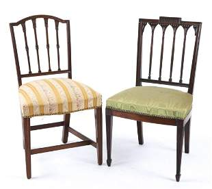 (2) FINELY CARVED HEPPLEWHITE MAHOGANY SIDE CHAIRS