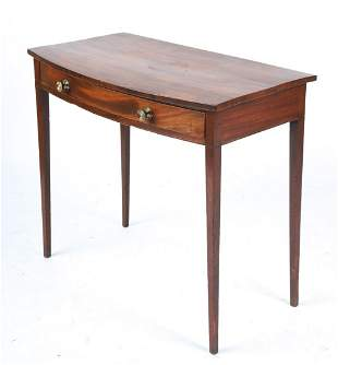 HEPPLEWHITE MAHOGANY BOW FRONT (1) DRAWER TABLE