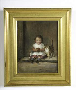 AMERICAN SCHOOL (19th c) YOUNG GIRL with CAT